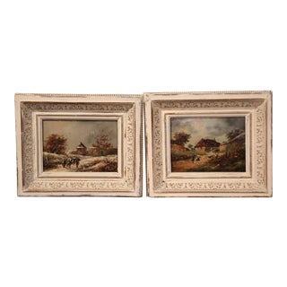 Pair of 19th Century French Paintings on Board in Carved Frames with Gilt circa 1860