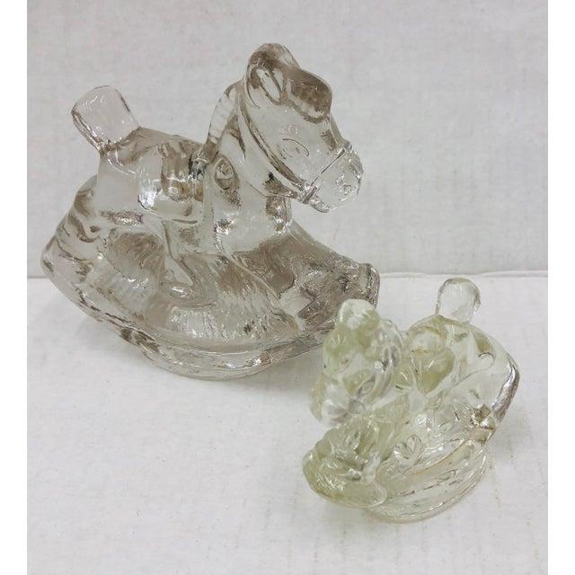 1950s Set Vintage Glass Rocking Horse Taper Holders For Sale - Image 5 of 5