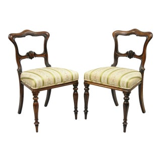 Victorian Art Nouveau Transitional Rosewood Carved Parlor Side Chairs - a Pair For Sale