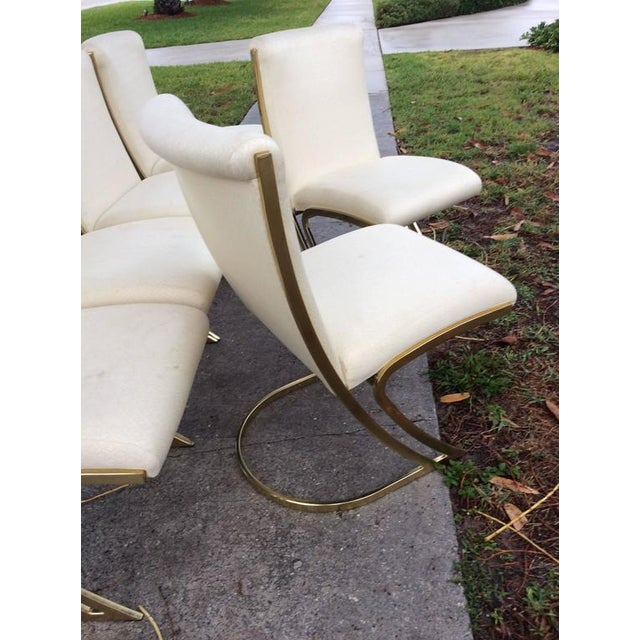 Brass Pierre Cardin Vintage Brass Dining Chairs - Set of 6 For Sale - Image 7 of 12