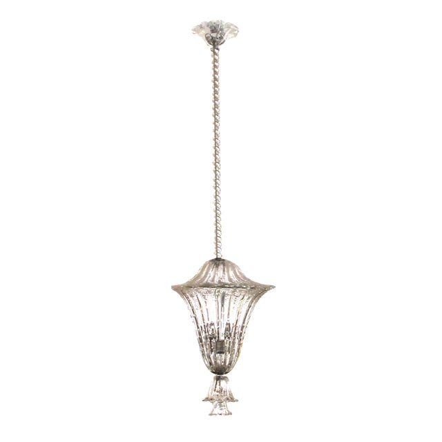 A large and superb quality Murano mid-century clear glass bullicante lantern/pendant light by Seguso For Sale