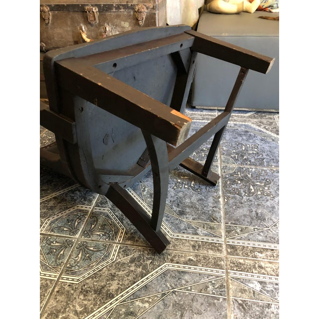 1940s Vintage Stout and Wide Wood and Leather Studded Bowed Back Reading Chair For Sale - Image 10 of 12