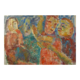 Jennings Tofel Expressionist Figures Drawing in Watercolor, Early 20th Century For Sale