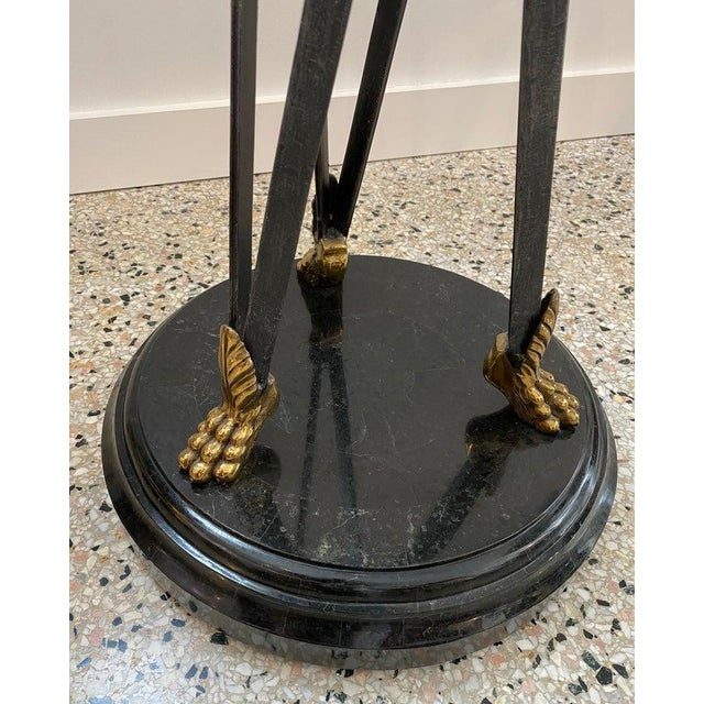 1980s Vintage Maitland Smith Pedestal Neoclassical Revival in Tessellated Marble, Patinated Steel and Brass For Sale - Image 5 of 13