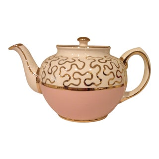Sadler Pottery England Hand Painted Pale Pink & Gold Luster Ware Teapot For Sale