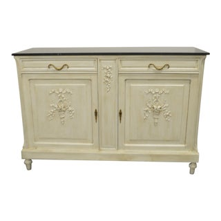 Louis XVI Style Painted Buffet With Marble Top For Sale
