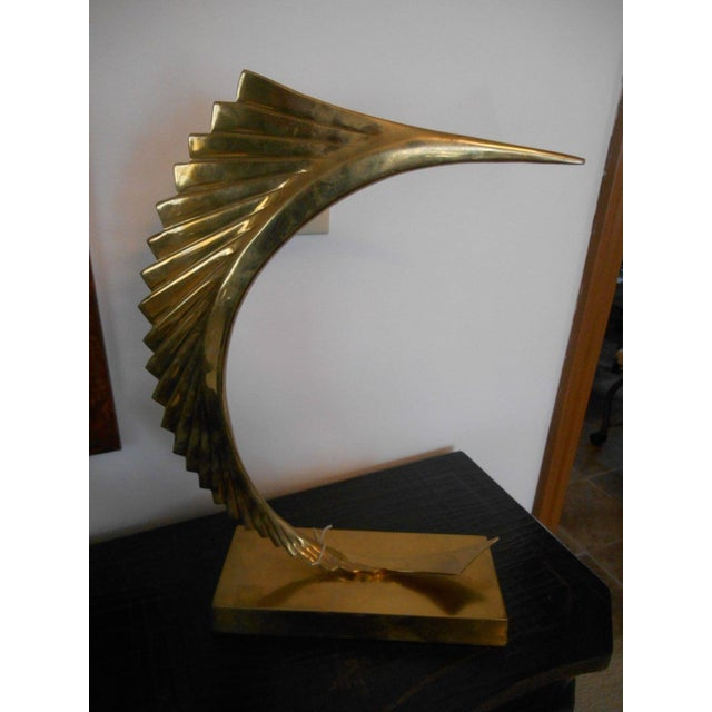 Mid-Century Modern Abstract Sailfish Brass Sculpture - Image 3 of 5