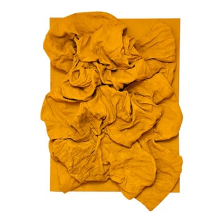 """Yellow Ochre Folds"" Mixed Media Wall Sculpture by Chloe Hedden For Sale"