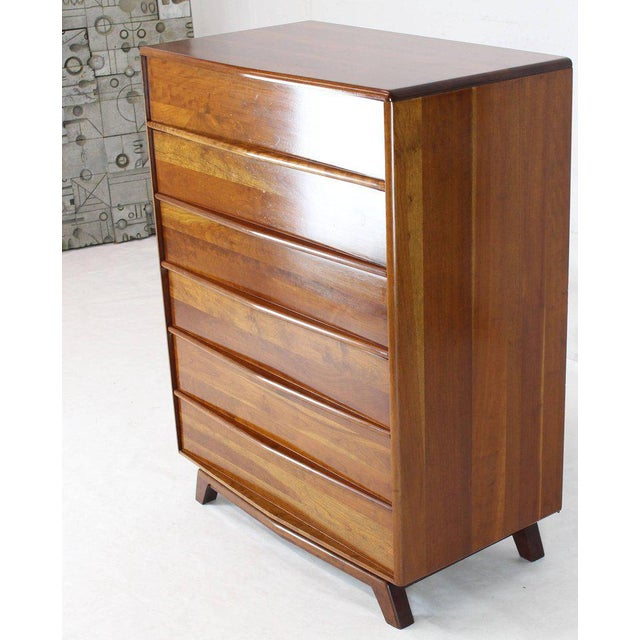 Brown Six Drawers Solid Cherry Mid-Century Modern Design High Chest For Sale - Image 8 of 13
