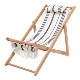 Sling Outdoor Chair - Vintage Black Stripe with Fringe For Sale