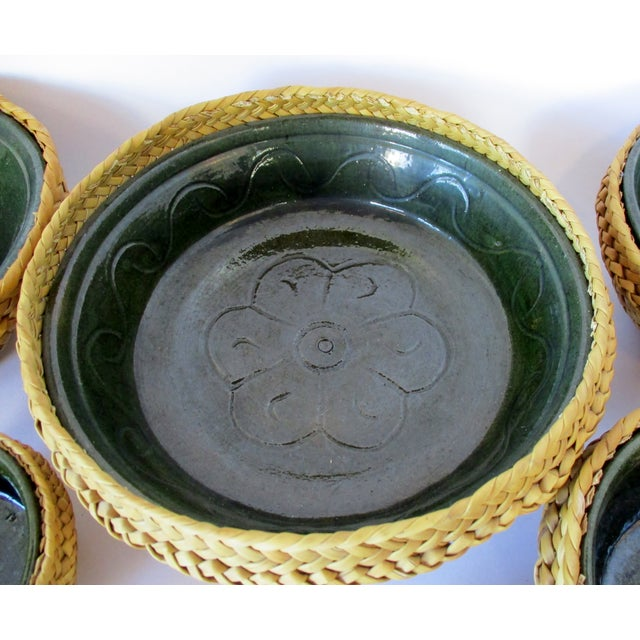 Green Ceramic & Wicker Nesting Bowls, Set of 6 For Sale - Image 8 of 9