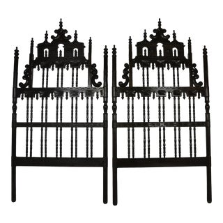 Baroque Style Carved Twin Headboards For Sale