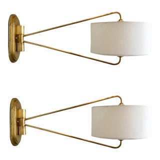 Currey & Co. Modern Gold and White Broadland Sconces Pair For Sale