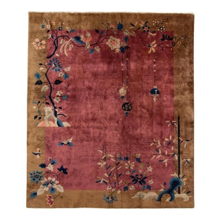 Antique Art Deco Chinese Red Wool Rug 8 Ft 1 in X 9 Ft 8 In. For Sale