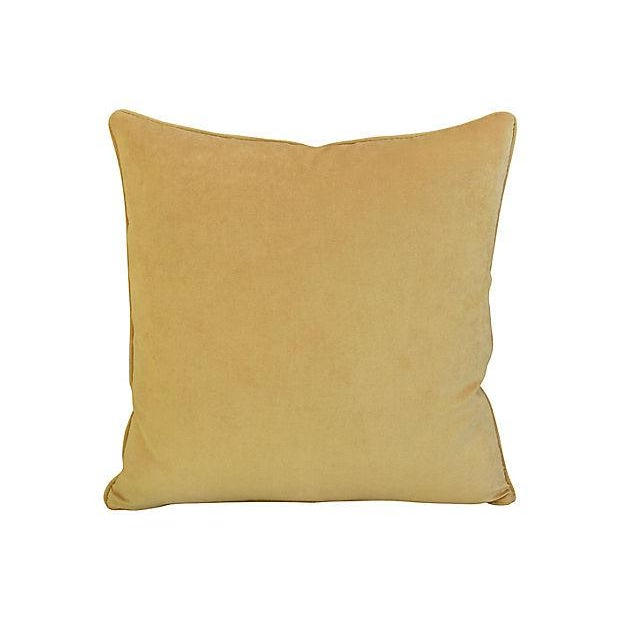 """Boho Chic Rich Golden Velvet Feather/Down Pillow 24"""" Square For Sale - Image 3 of 3"""