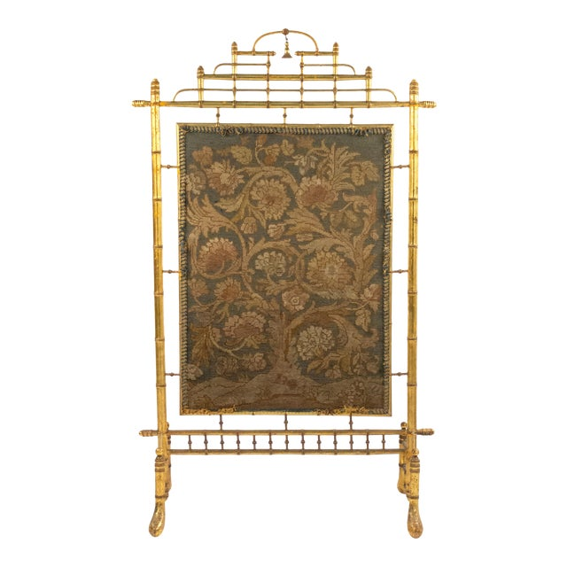 French Victorian Gilt Faux Bamboo Fire Screen For Sale
