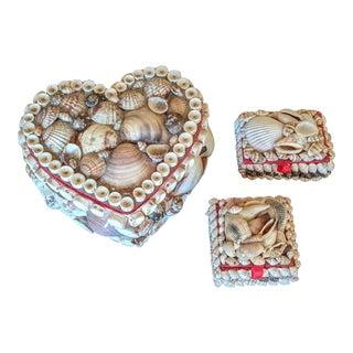 Set of 3- Nautical Coastal Shell Encrusted Decorative Boxes For Sale