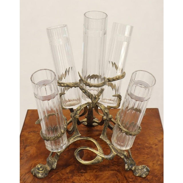 Metal Art Nouveau 5 Branches Center Piece Cut Glass Vases For Sale - Image 7 of 13