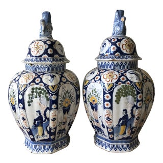 Early 19th Century Delft Chinoiserie Polychrome Jars - a Pair For Sale