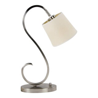 "Modern Brushed ""S"" Curve Nickel Desk Lamp"