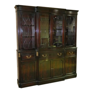 Vintage Regency Style Mahogany W/ Etched Beveled Glass China Cabinet - 2 Pc. For Sale