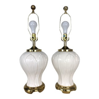 Hollywood Regency Blanc De Chine Lamps - a Pair For Sale