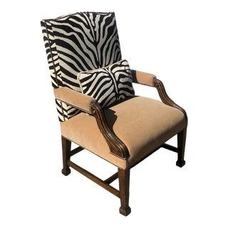 Antique Carved Mahogany Clarence House Zebra Velvet & Mohair Desk Chair For Sale