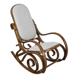Lovely Bentwood Rocking Chairs With Cream Linen Cushions For Sale
