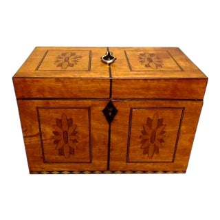 Early 19th Century Antique Satinwood Tea Caddy For Sale