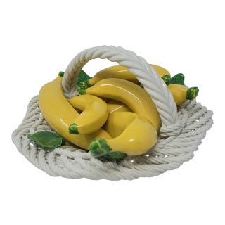 Vintage Italian Ceramic Basket of Bananas Made in Italy - Rare For Sale
