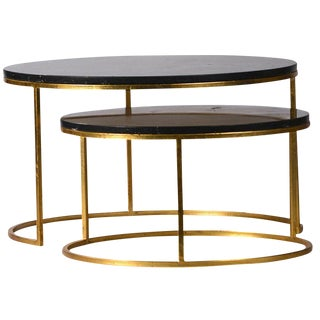Pair of Modern Black Marble Nest Coffee Tables
