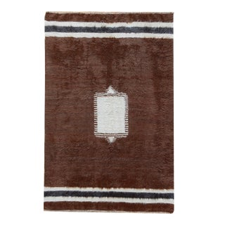Vintage Turkish Brown Mohair Rug - 4' X 6'2 For Sale