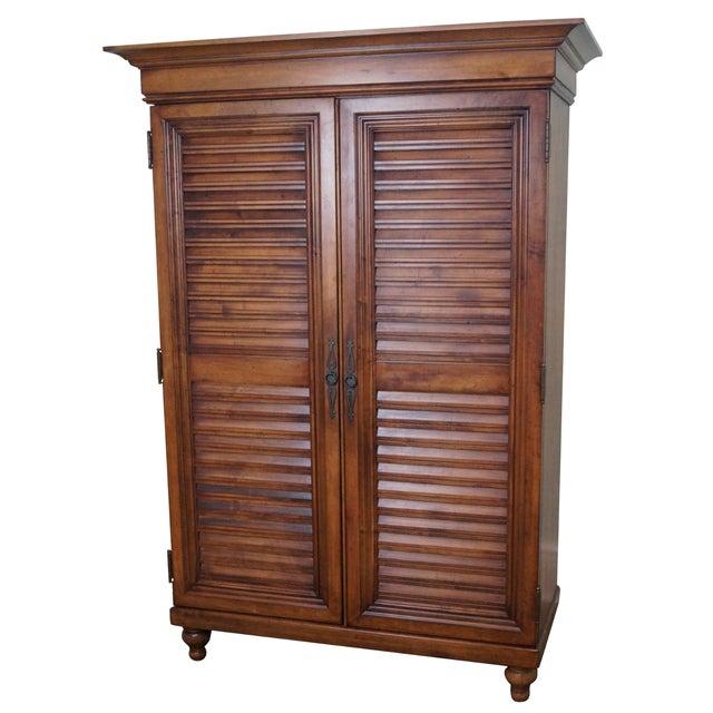 Tommy Bahama Lexington Maple Louvered Door Armoire For Sale