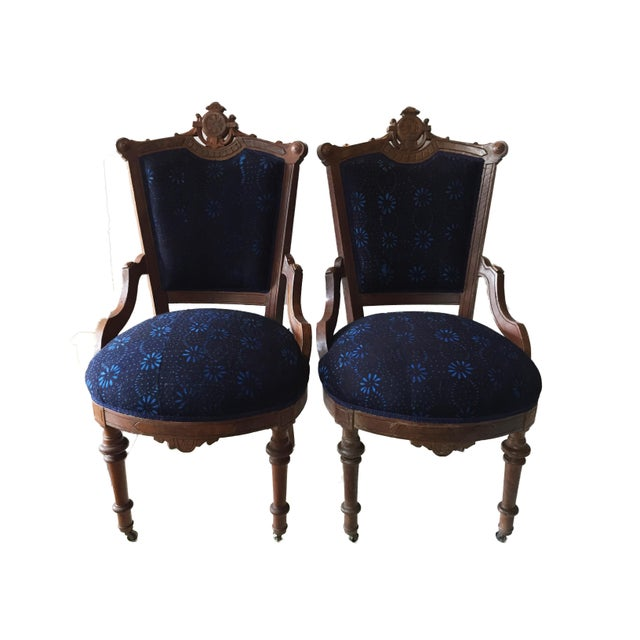 Traditional Antique Victorian Chairs W/Indigo Fabric - a Pair For Sale -  Image 3 - Antique Victorian Chairs W/Indigo Fabric - A Pair Chairish
