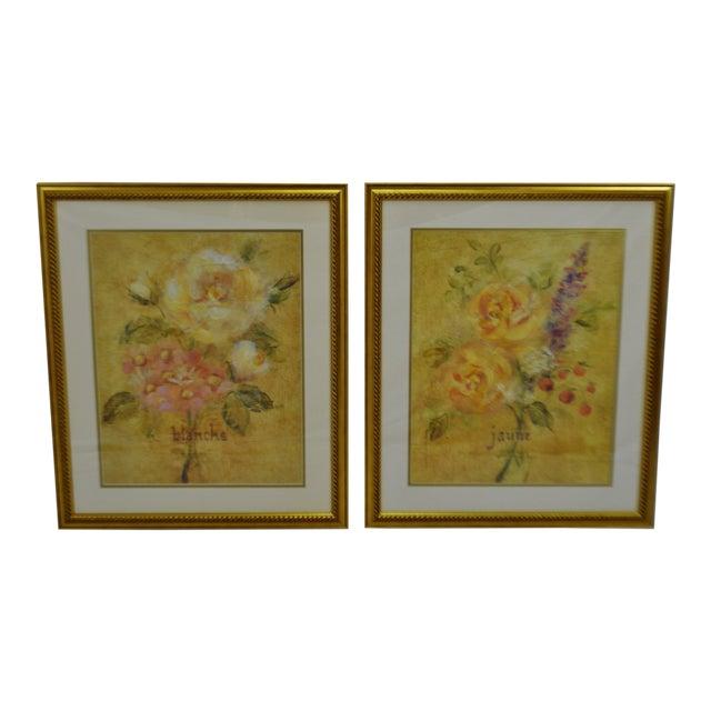 Vintage Framed French Jaune & Blanche Floral Still Life Prints For Sale
