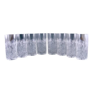 Cut Crystal Tall Drinking Glasses - Set of 8 For Sale
