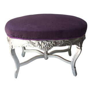 Silver Gilded Wood Ottoman For Sale