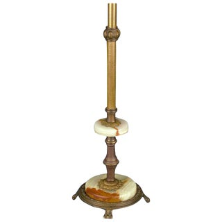 Onyx and Brass Table Lamp For Sale