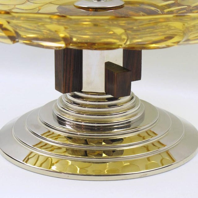 1930s French Art Deco Yellow Glass Chrome Macassar Centerpiece Bowl For Sale - Image 5 of 8