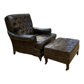 Mid Century Brown Leather Tufted Back Lounge Chair and Matching Ottoman - Set of 2 For Sale
