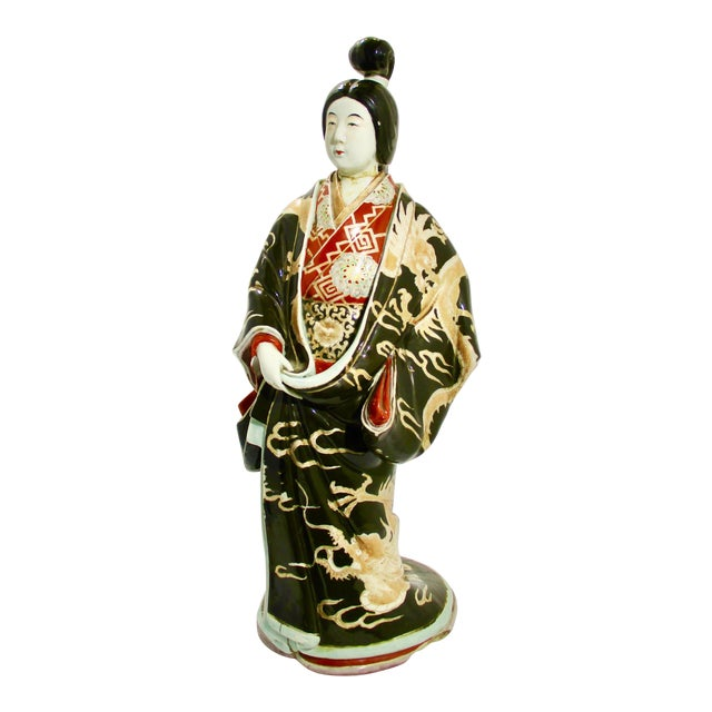 Japanese Kutani Porcelain Geisha Figure For Sale