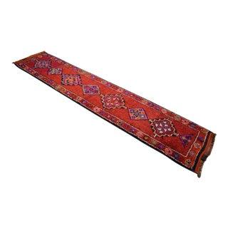 Hand-Knotted Runner Rug Kurdish Herki Rug. Colorful Tribal Long Runner - 2′9 × 13′ For Sale