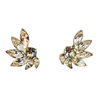 1960s Pell Ultra Sparkly Crystal Earrings For Sale