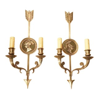 """Maison Charles Paris"" - a Pair of 20th CenturyFrench Directoire Style 2-Lite Sconces, For Sale"