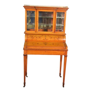 English Satinwood Adams Inlaid Secretary Desk Vitrine Top With Inkwells For Sale