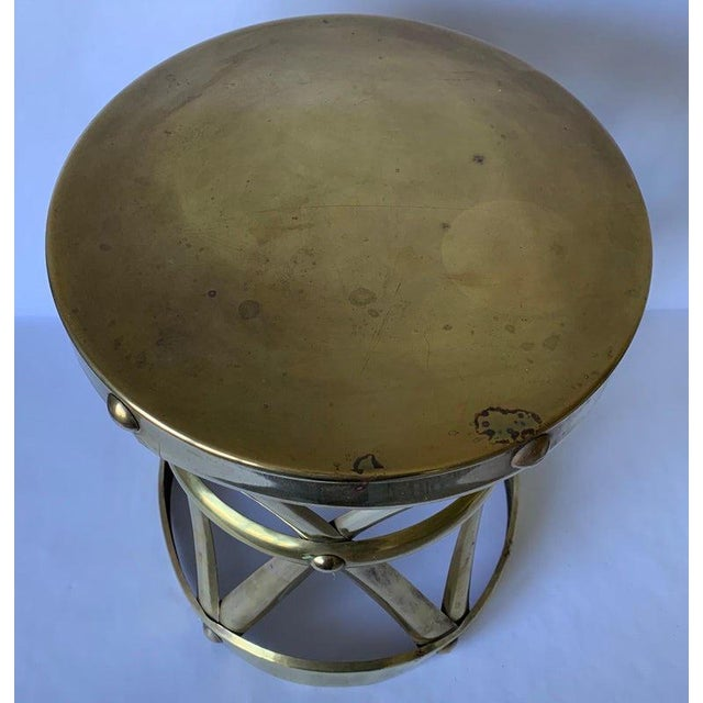 1970s Brass X-Frame Tabouret Stool For Sale In New York - Image 6 of 7