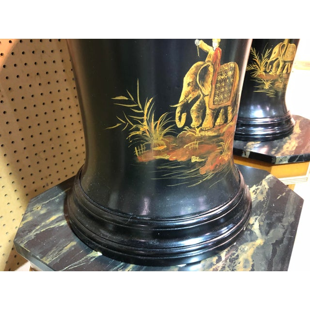 Vintage Chinoiserie Painted Lidded Urns - a Pair For Sale In West Palm - Image 6 of 10