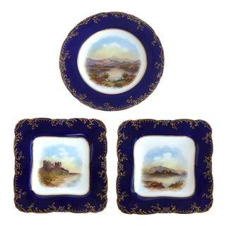 Wedgwood (England) Hand-Painted Cabinet Plates Depicting Uk Landmarks- Set of 3 For Sale