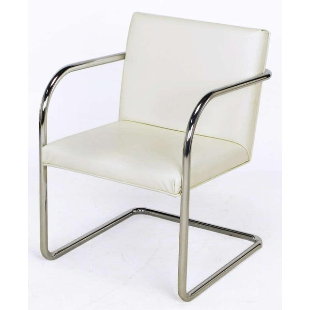 Four Thonet White & Chrome Cantilever Dining Chairs - Image 3 of 9