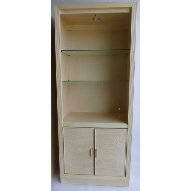 Modern Split Reed Lighted Cabinets - A Pair - Image 3 of 11